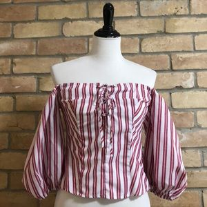 On/off shoulder stripped blouse with puff sleeves